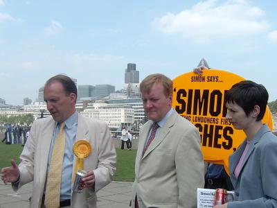 Simon  Hughes with Charles Kennedy and Caroline Pidgeon