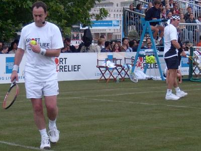 Angus Deayton and Pat Cash