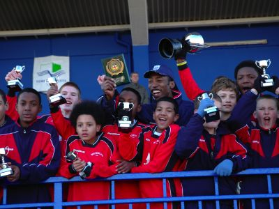 Waterloo FC celebrating their victory at Mile End Stadium