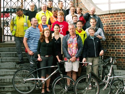 Members of Southwark  Cyclists on the steps of the Globe