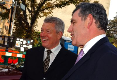 Alan Johnson and Gordon Brown arriving at Hardy Gr