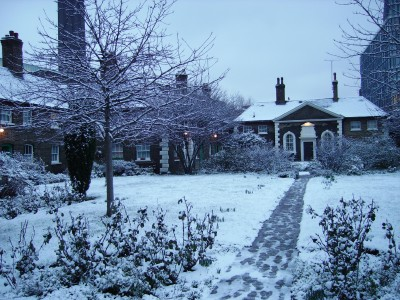 A winter scene at Hoptons Almshouses