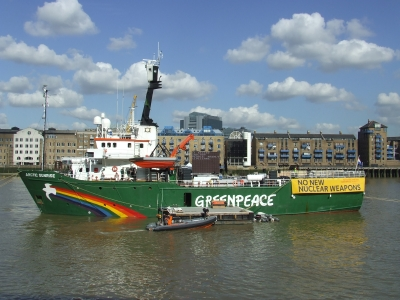 Arctic Sunrise seen from Butler's Wharf on Thursda