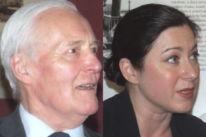 Tony Benn and Gill Hicks at the opening of Hospita