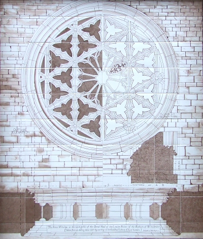 Clink Street tiles feature Winchester Palace rose window