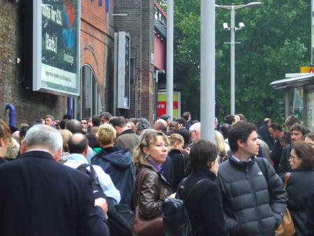 Crowds in Tenison Way during the closure