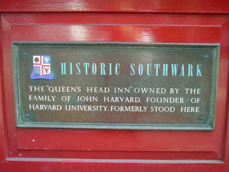 John Harvard Old Queen's Head plaque