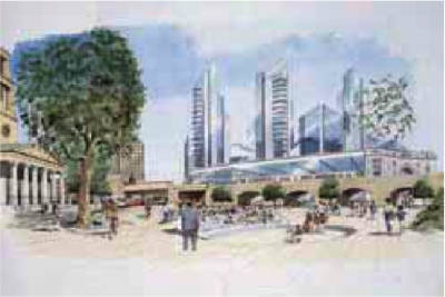 Concept sketch of city square seen from the north