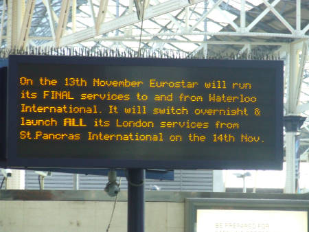 Waterloo Eurostar platforms to lie idle for a year