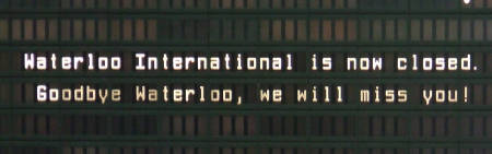 The departures board displays a farewell message f