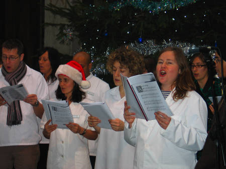 BSO staff and students carol-singing in Borough