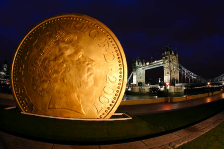 Giant pound coin in Potters Fields to promote People's £50 Million