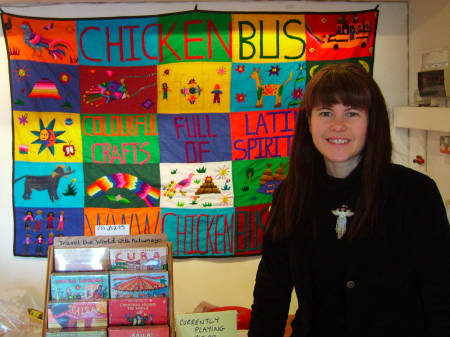 Eleanor Marriott in her Chicken Bus shop at Oxo To