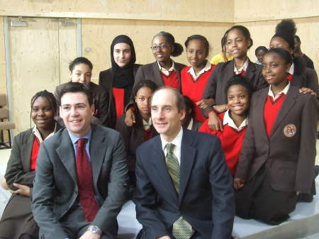 Andy Burnham and Lord Adonis with students at a Yo