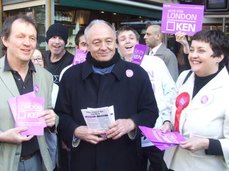 Kevin Whately, Ken Livingstone and Val Shawcross a