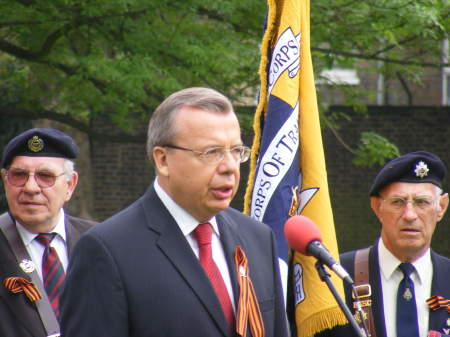 The Russian Ambassador addresses the crowd