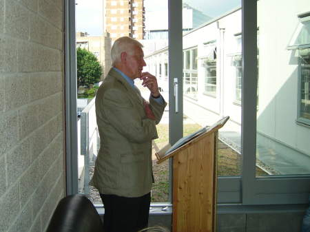 Alan Grieve speaking at the Jerwood Pod opening
