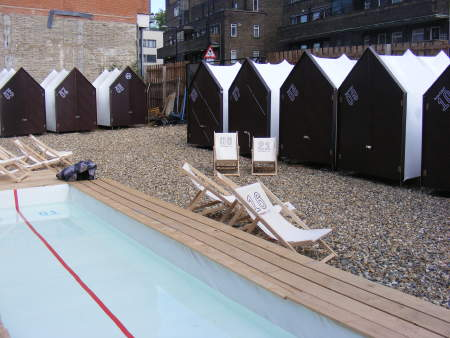 Southwark Lido's pool and beach huts