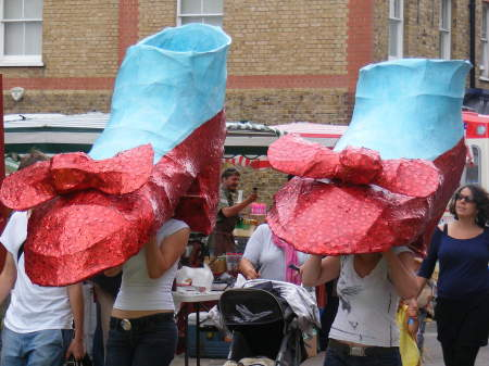 Ruby slippers made by young people at Coin Street