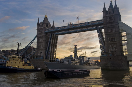 HMS Westminster visits the Pool of London