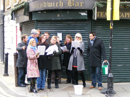 Bermondsey Street carol-singing in aid of Gloria Burgos memorial