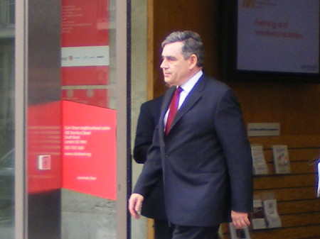 Gordon Brown leaving Coin Street Neighbourhood Cen