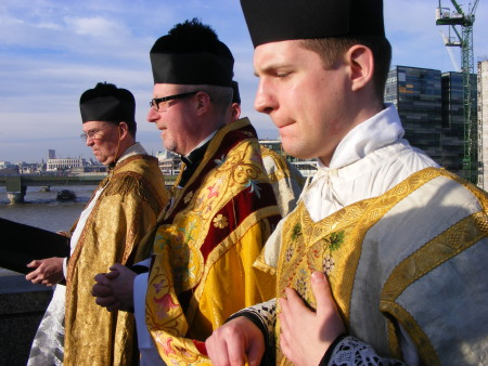 Blessing the river at London Bridge