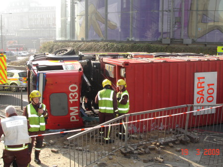 Fire brigade truck overturns next to BFI IMAX at Waterloo