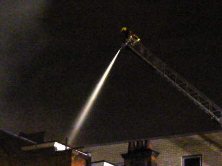 Firefighters tackle the blaze from the New Kent Ro
