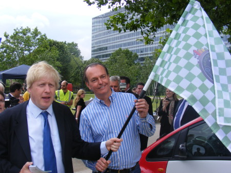 Boris Johnson tours Green Car Day in Potters Fields Park