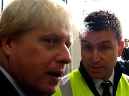 Boris Johnson meets taxi rank marshal John at Lond