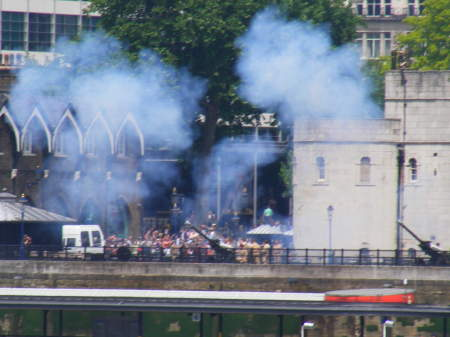 Gun salute at Tower of London