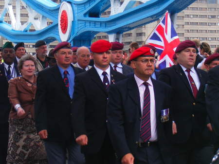 Veterans march across Tower Bridge
