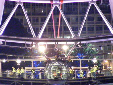 London Eye capsule floats down the Thames