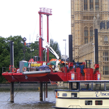 Exploratory works for Thames Tunnel begin upstream of Westminster Bridge
