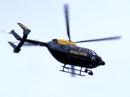Police helicopter above Blackfriars Road
