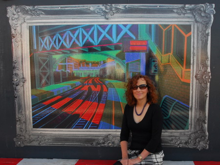 Gail Brodholt with her image of Farringdon Station