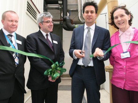 Ed Miliband opens new green power plant at St Thomas' Hospital