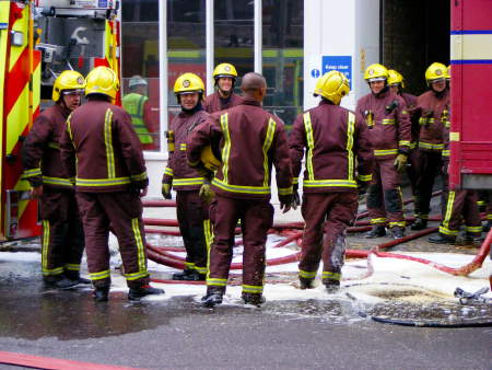 Firefighters in Gaunt Street on Tuesday