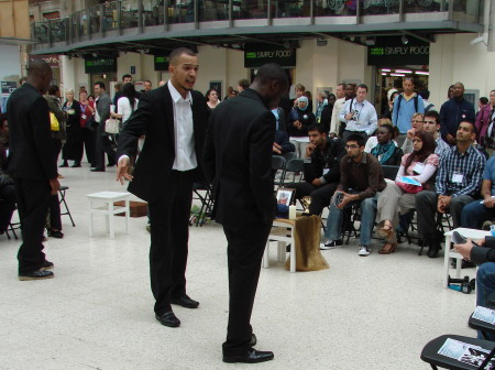 Knife crime drama performed on Waterloo Station concourse