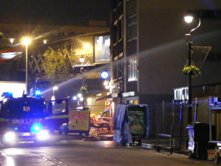 Firefighters in Lower Marsh on Thursday night