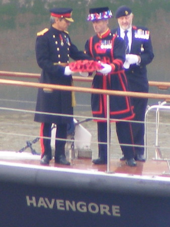 Poppy wreath laid on the Thames during Armistice Day service
