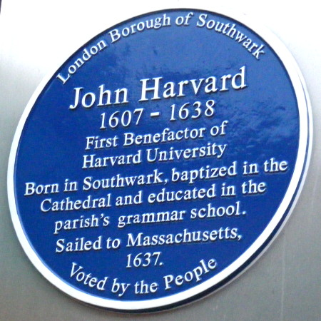 Blue plaque to John Harvard
