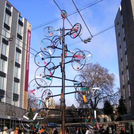 Bicycle Christmas tree appears in Bermondsey Square