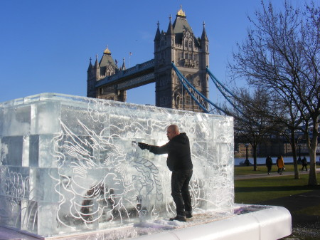 Car in a giant tattoo-covered ice cube in Potters Fields Park