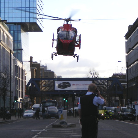 Air ambulance lands in Blackfriars Road after motorcycle accident