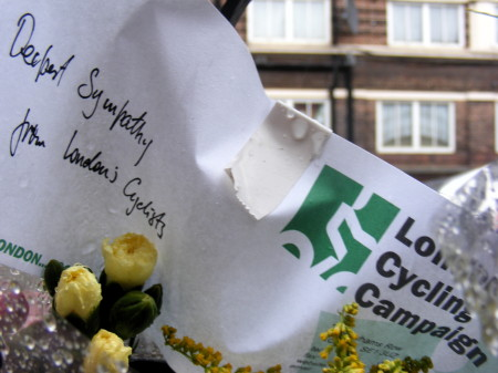 Flowers from London Cycling Campaign