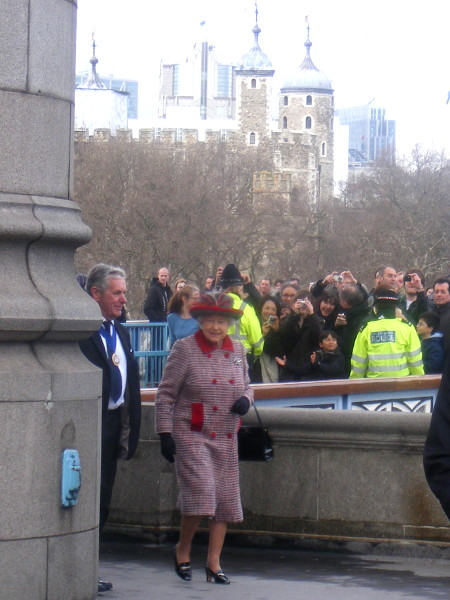 The Queen arriving at Tower Bridge