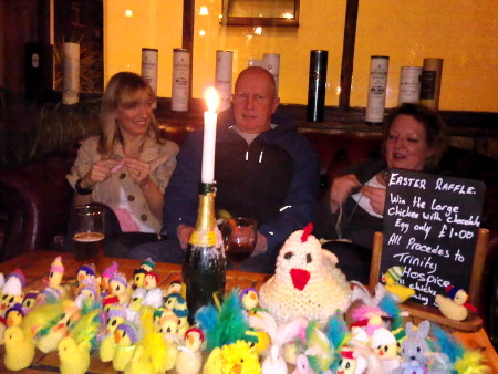Easter chicks for Trinity Hospice on sale at The Britannia