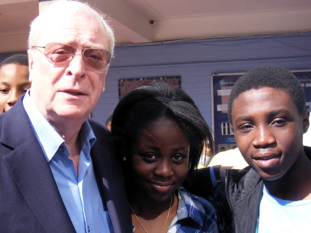 Sir Michael Caine with Globe Academy pupils